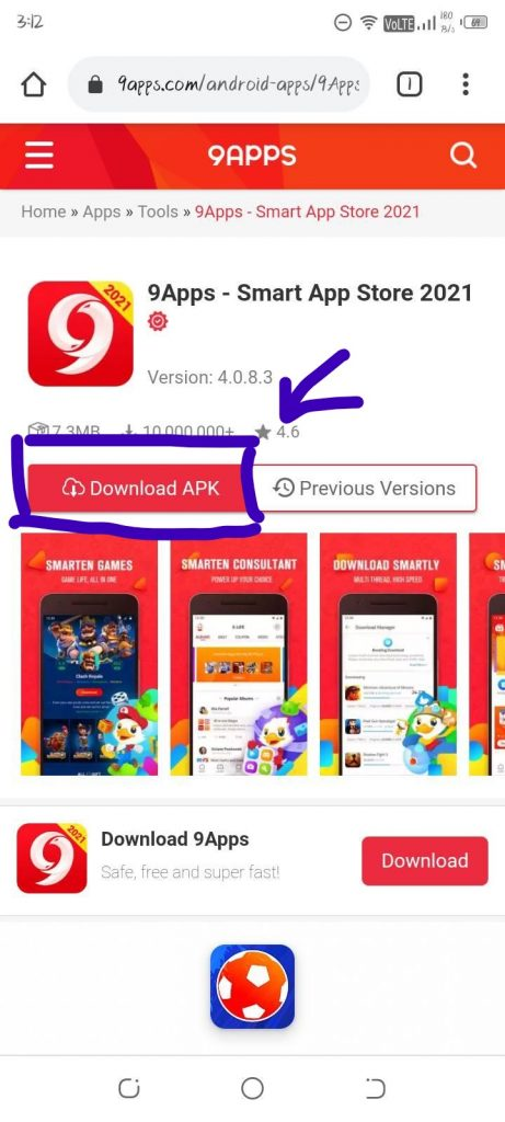 9Apps-download-page-on-mobile